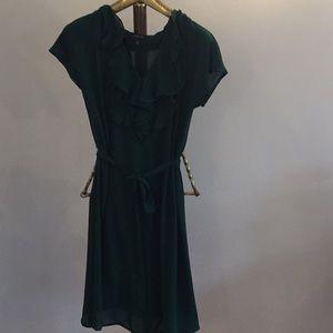 Lands End Chiffon Ruffle Front Dress